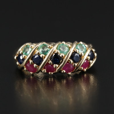 14K Gold Ruby, Sapphire and Emerald Ring