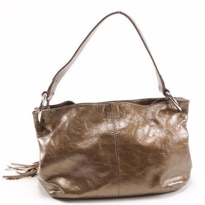 Furla Metallic Glazed Leather Shoulder Bag with Tassel