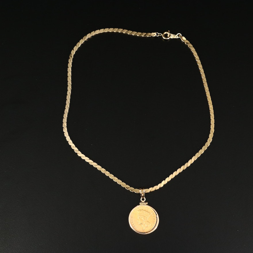 1874 $3 Indian Head Princess Gold Coin Pendant with Gold Tone Necklace