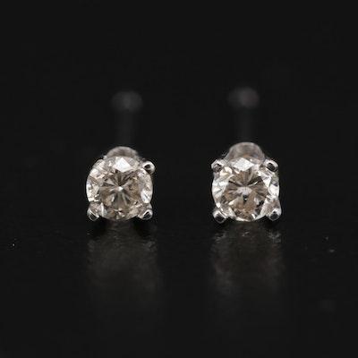 14K White Gold 0.14 CTW Diamond Stud Earrings