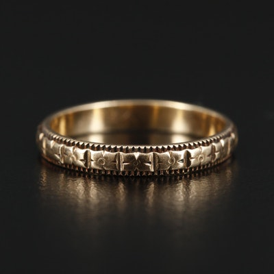 14K Gold Floral Motif Eternity Ring