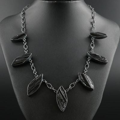 Barry Brinker 950 Silver Schorl Station Necklace