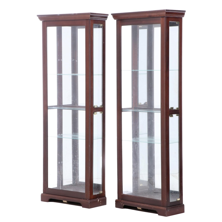 Illuminated Stained Wood and Glass Display Cabinets, Late 20th Century