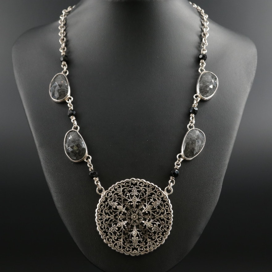Barry Brinker 950 Silver Tourmalinated Quartz and Obsidian Necklace