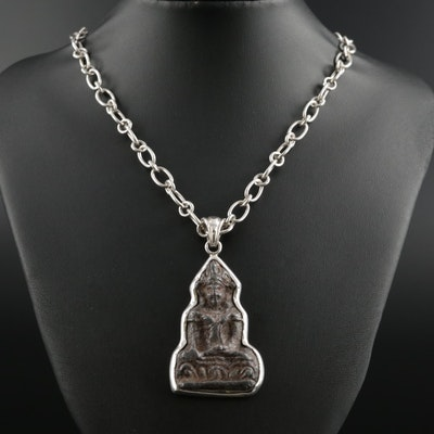 Barry Brinker 950 Silver Figural Pendant Necklace