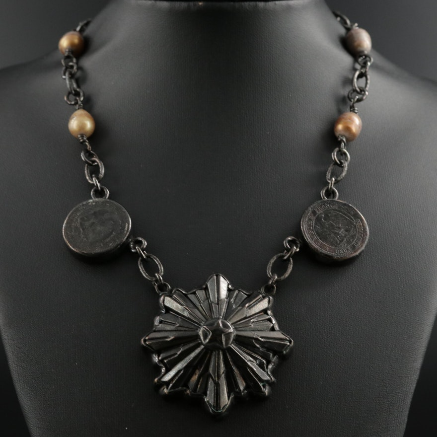 Barry Brinker Pearl Necklace with 1850s French 2-Centimes Bronze Coins