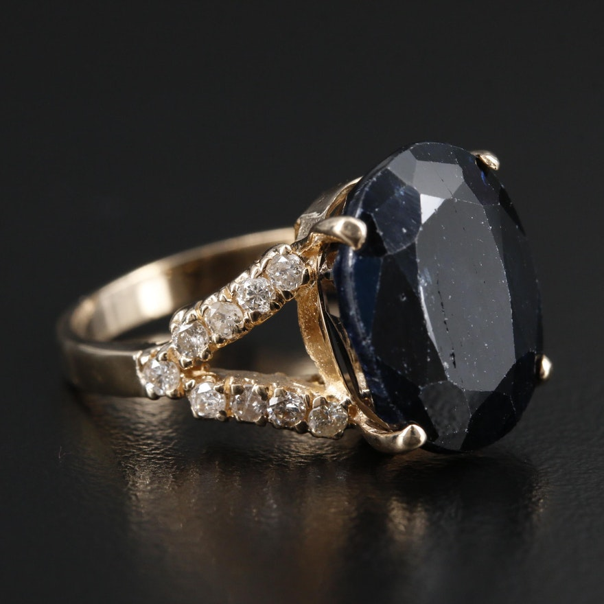 14K Gold 14.31 CT Sapphire and Diamond Ring