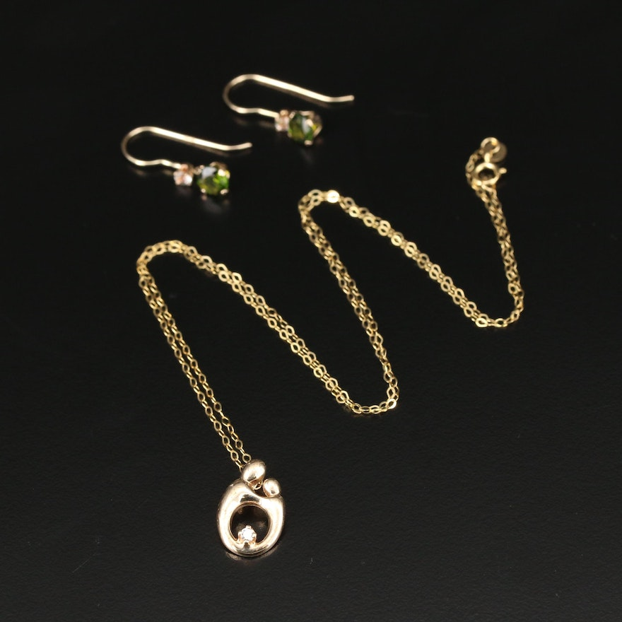 14K Diamond Mother and Child Necklace with Diopside and White Spinel Earrings