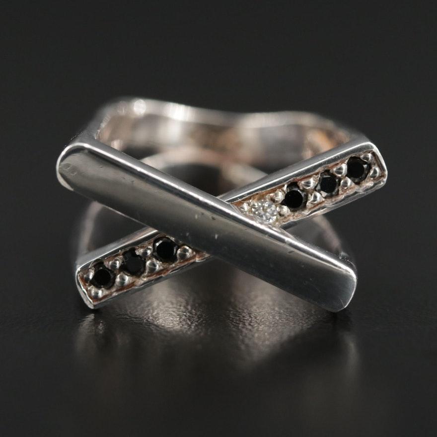 Barry Brinker 950 Silver Black Onyx Crossover Ring