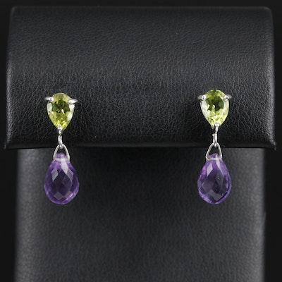 Sterling Silver Peridot and Amethyst Drop Earrings