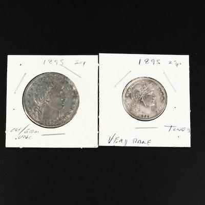 1895 Barber Silver Half Dollar and Quarter Dollar