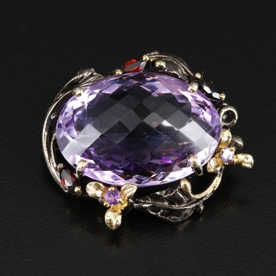 Sterling Silver Amethyst and Garnet Floral Brooch