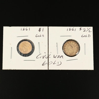 1861 Indian Head Princess $1 and 1861 Liberty Head $2.50 Gold Coins