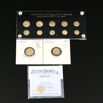 Three U.S. $1 Gold Coins and Souvenir Replica California Gold Token Type Set