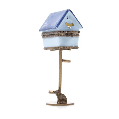 Hand-Painted Porcelain Birdhouse on Pedestal Limoges Box