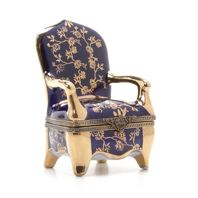 Hand-Painted Porcelain Queen Anne Style Chair Limoges Box