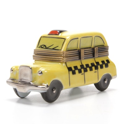 Rochard Hand-Painted Porcelain Yellow Taxi Limoges Box