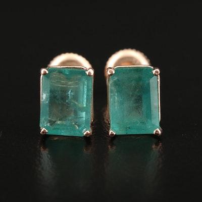 14K Gold 4.15 CTW Emerald Stud Earrings