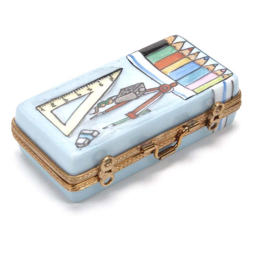 La Gloriette Hand-Painted Porcelain Artist's Suitcase Limoges Box