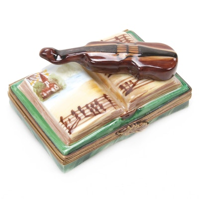 La Gloriette Hand-Painted Porcelain Violin on Music Book Limoges Box
