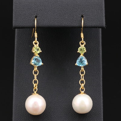 Sterling Silver Pearl, Topaz and Peridot Earrings