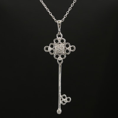 Sterling Diamond Key Pendant Necklace