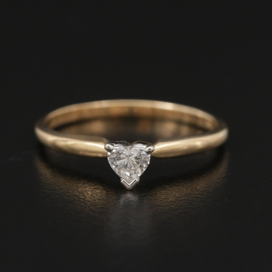 14K Yellow Gold 0.25 CTW Diamond Solitaire Ring