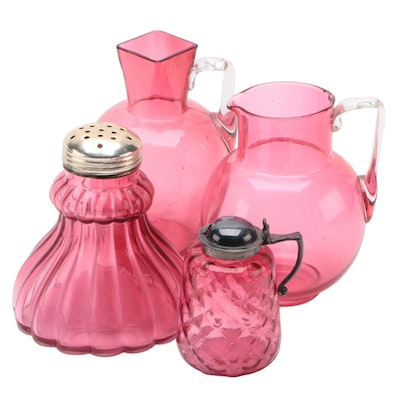 Cranberry Glass Creamers with Shaker and Dispenser, Mid/Late 20th Century