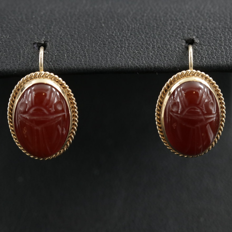 14K Yellow Gold Carved Sard Scarab Earrings
