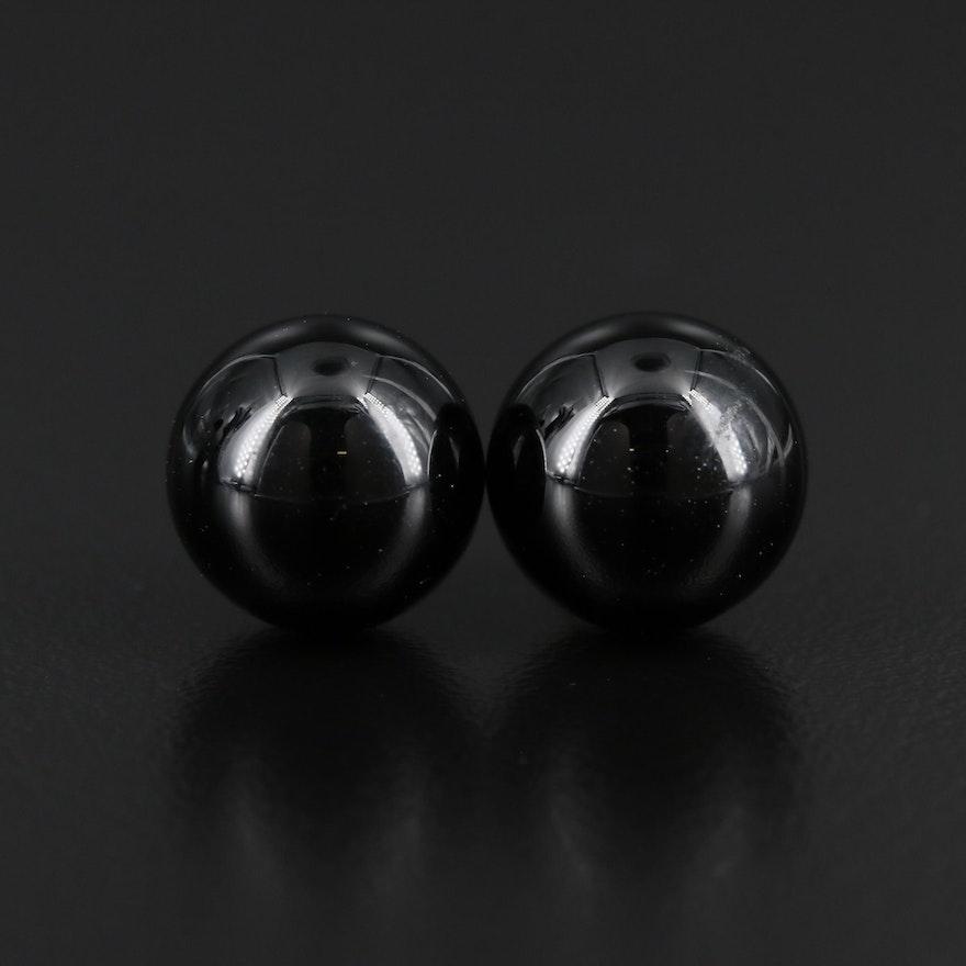 14K Gold Black Onyx Stud Earrings