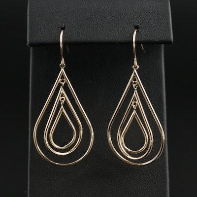 14K Yellow Gold Tear Drop Motif Dangle Earrings