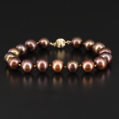 Hand Knotted Cultured Pearl Strand Bracelet with 14K Yellow Gold Clasp