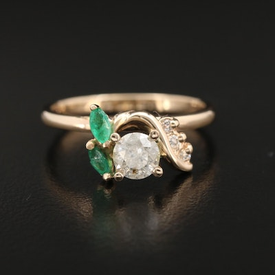14K Yellow Gold Diamond and Emerald Ring
