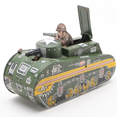 Marx Tin Lithograph Key Wind Military Tank with Soldier, 1940's