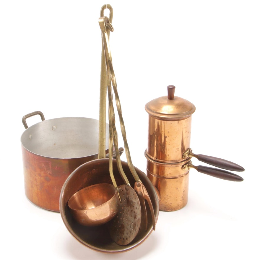 Italian Copper 6 Cup Coffee Maker and Other Copper Cookware