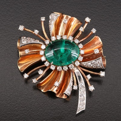 Circa 1940s 14K Synthetic Emerald and 1.68 CTW Diamond Brooch with Platinum