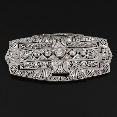 Art Deco Platinum 1.83 CTW Diamond Brooch