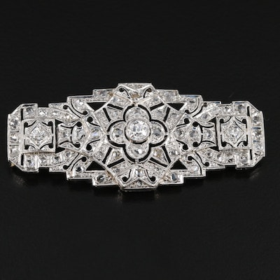 Art Deco Platinum 1.38 CTW Diamond Brooch