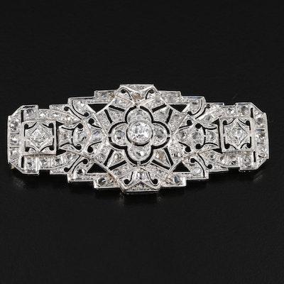 Art Deco Platinum 1.38 CTW Diamond Brooch