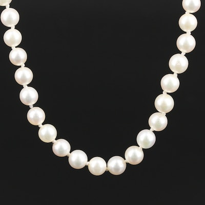 Single Strand of Pearls with 14K Clasp
