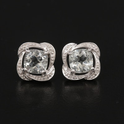 10K White Gold Prasiolite and Diamond Stud Earrings