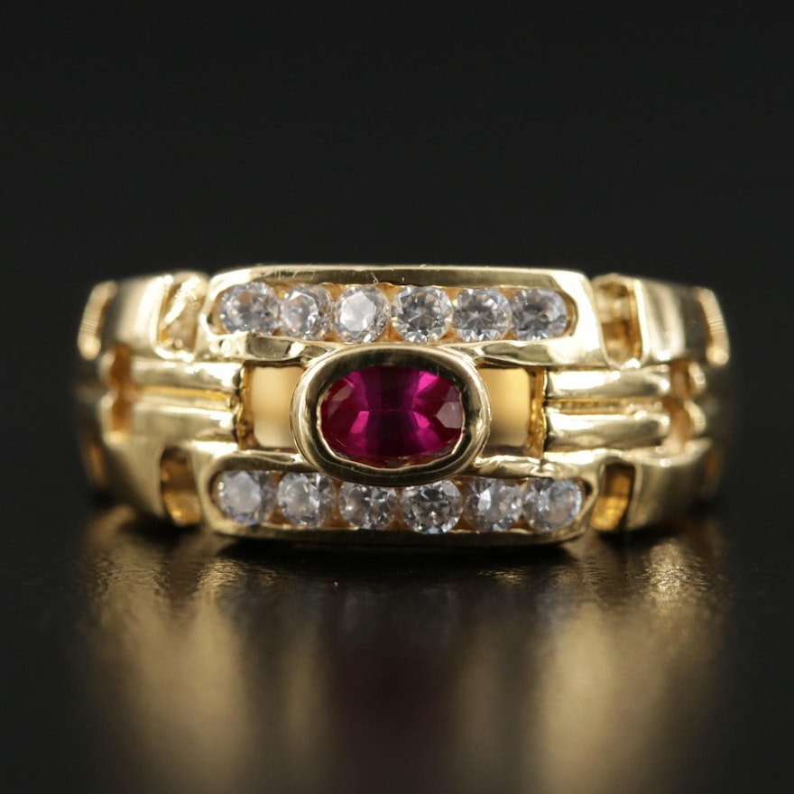 18K Yellow Gold Ruby and Cubic Zirconia Chain Link Motif Ring