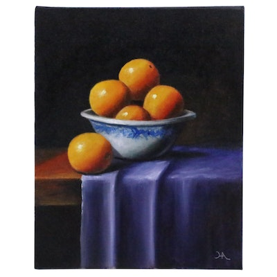 "Houra H. Alghizzi Still Life Oil Painting ""Bowl of Oranges"""
