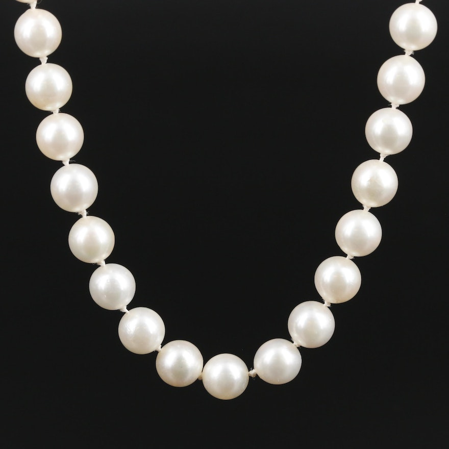 14K Gold Pearl Single Strand Necklace
