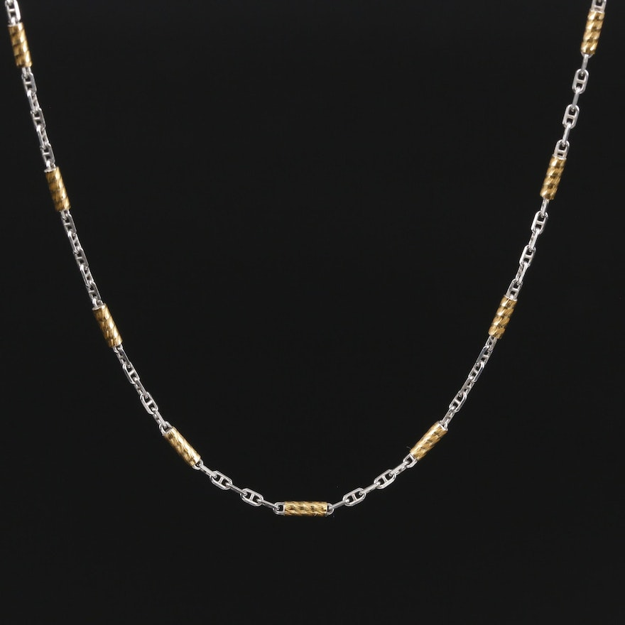 14K Yellow and White Gold Figaro Chain Necklace