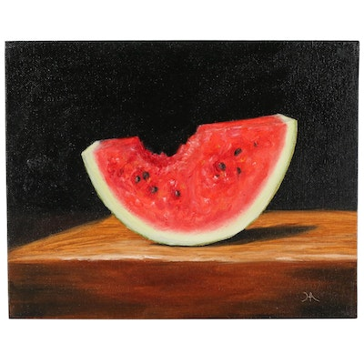 "Houra H. Alghizzi Oil Painting ""Sweet Bite of Watermelon"""