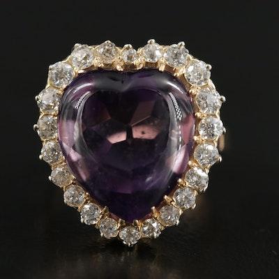 14K Gold Amethyst and 1.08 CTW Diamond Heart Ring