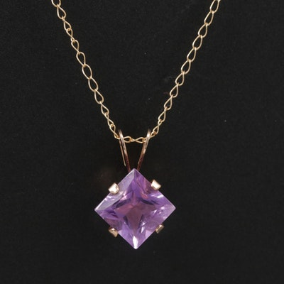 10K Yellow Gold Amethyst Pendant Necklace