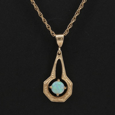 14K Opal Pendant Necklace