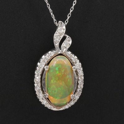 14K Opal and Diamond Pendant Necklace